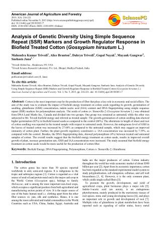 Analysis of Genetic Diversity Using Simple Sequence Repeat (SSR) Markers and Growth Regulator Response in Biofield Treat