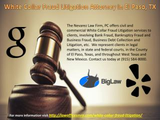 White Collar Fraud Litigation Attorney in El Paso, TX