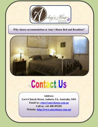 Why choose accommodation at Amy's House Bed and Breakfast? Address: Lot 6 Church Street, Auburn, SA, Australia, 5451 Ema