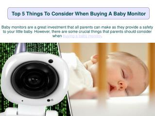 Top 5 Things To Consider When Buying A Baby Monitor
