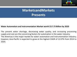 Water Automation & Instrumentation Market Analysis & Forecast (2014 - 2020)