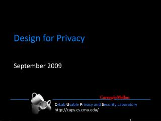 Design for Privacy