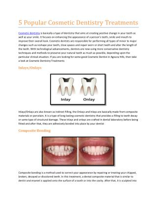 Popular Cosmetic Dentistry Treatments