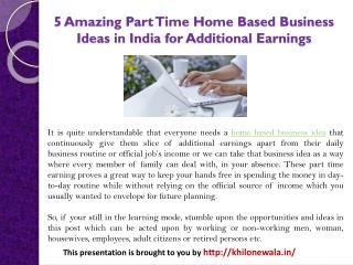5 Amazing Part Time Home Based Business Ideas in India for Additional Earnings