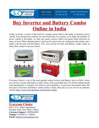 Buy Inverter and Battery Combo Online in India