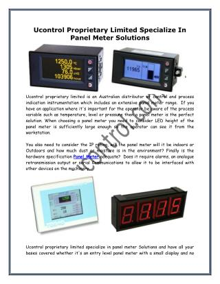 Ucontrol Proprietary Limited Specialize In Panel Meter Solutions
