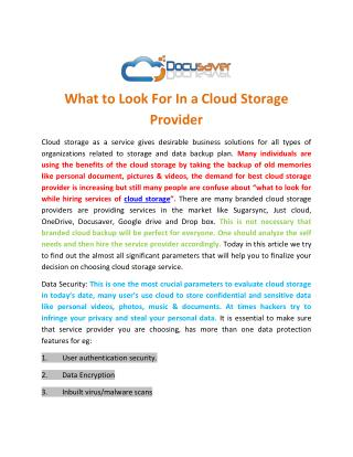 What to Look For In a Cloud Storage Provider