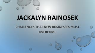 Jackalyn Rainosek, PHD - Challenges That New Businesses Must Overcome