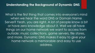 Understanding the Background of Dynamic DNS