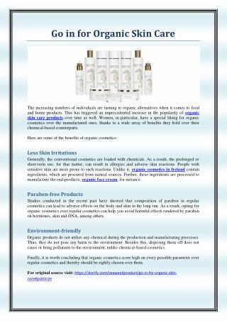 Go in for Organic Skin Care