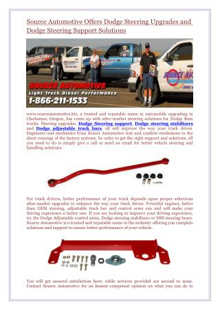 Source Automotive Offers Dodge Steering Upgrades and Dodge Steering Support Solutions