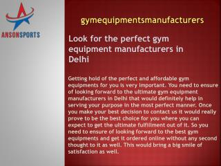 Look for the perfect gym equipment manufacturers in Delhi