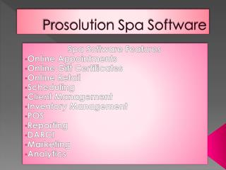 Prosolution Spa Software