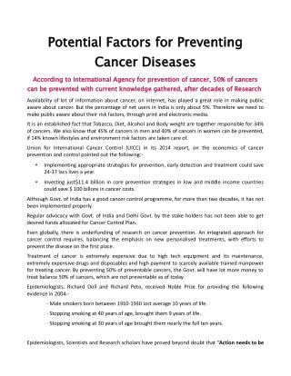 Potential Factors for Preventing Cancer Diseases