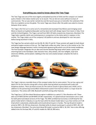 Tata Tiago Lunched by Tata Motors