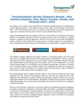 Preimplantation Genetic Diagnosis Market - Asia Industry Analysis, Trends, and Forecast 2015 - 2023