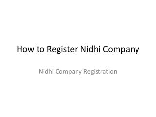 Latest Law of Nidhi Company
