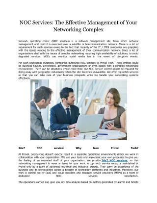 NOC Services: The Effective Management of Your Networking Complex