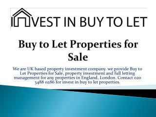 Buy to Let Properties for Sale