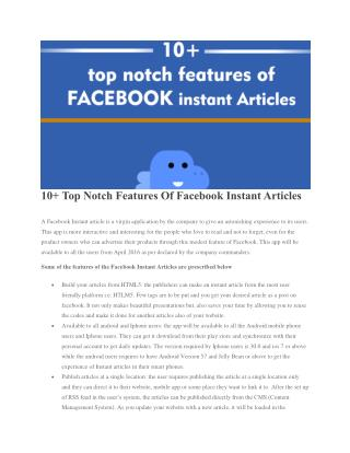 10  Top Notch Features Of Facebook Instant Articles