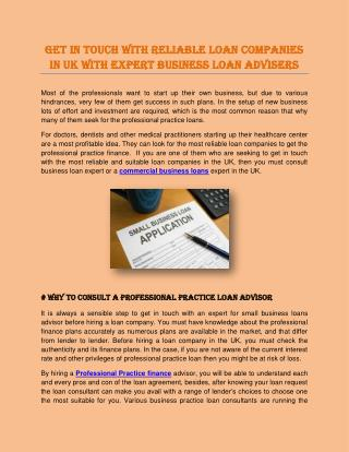 Get in Touch with Reliable Loan Companies in UK with Expert Business Loan Advisers