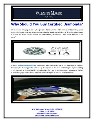 Why Should You Buy Certified Diamonds?