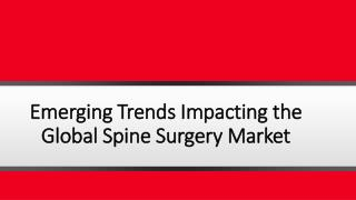 Emerging Trends Impacting the Global Spine Surgery Market with Key Companies Profile, Supply, Demand, Cost Structure and