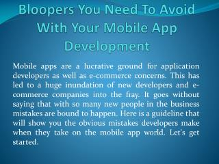 Bloopers You Need To Avoid With Your Mobile App Development