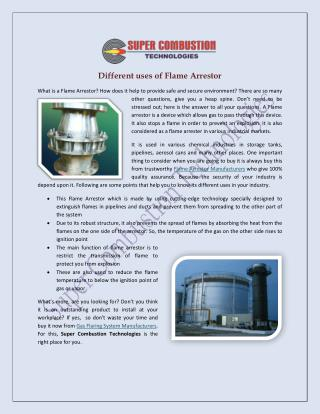 Different Uses Of Flame Arrestor