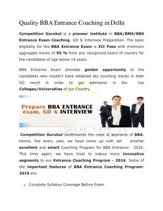 Quality BBA Entrance Coaching in Delhi