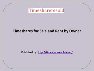 Timeshares for Sale and Rent by Owner