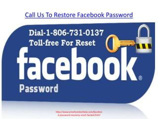 Dial Toll-Free Number 1-806-731-0137 For Facebook Forget password reset