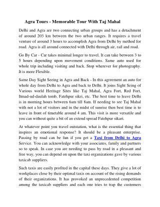 Delhi Agra Taxi | Delhi to Agra Taxi