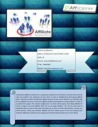 Find Best Affiliate Programs at Affscanner.com