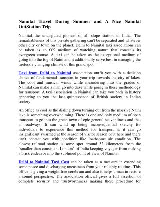 Delhi to Nainital Cab | Delhi to Nainital Taxi