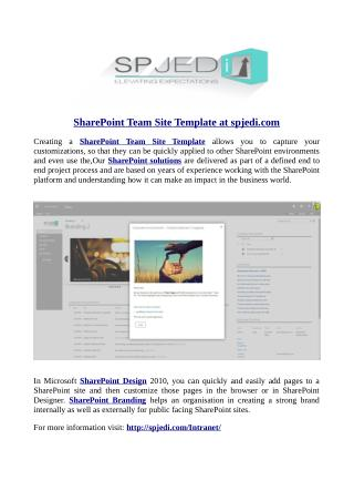 SharePoint Team Site Template at spjedi.com