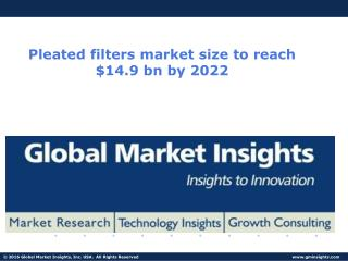 Pleated filters market size to reach $14.9 bn by 2022.