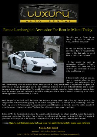 Rent a Lamborghini Aventador For Rent in Miami Today!