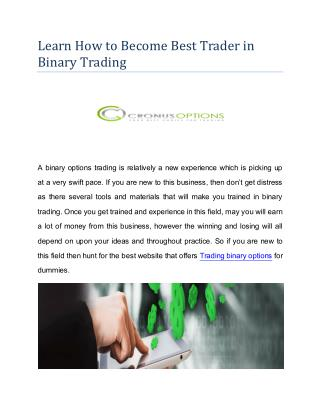 Learn How to Become Best Trader in Binary Trading