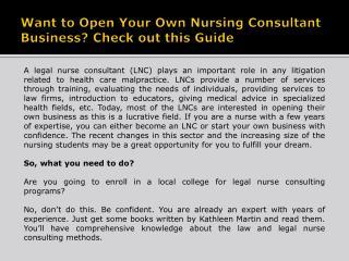 Legal Nurse Consulting Programs