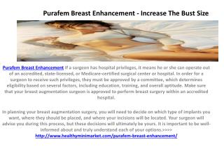 Purafem Breast Enhancement - Improve Your Self Image
