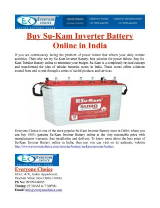 Buy Su-Kam Inverter Battery Online in India