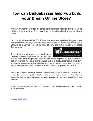 How can Buildabazaar help you build your Dream Online Store?