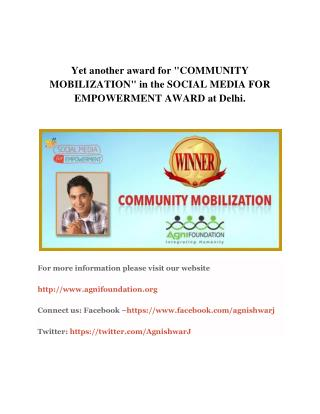 "Yet another award for ""COMMUNITY MOBILIZATION"" in the SOCIAL MEDIA FOR EMPOWERMENT AWARD at Delhi"