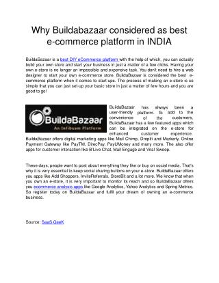 BuildaBazaar  is a best DIY eCommerce platform with the help of which, you can actually build your own store and start y