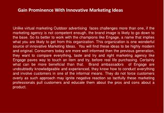 Gain Prominence With Innovative Marketing Ideas