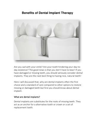 Benefits of Dental Implant Therapy