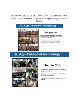 CLUBS started in Agni College for Students Welfare