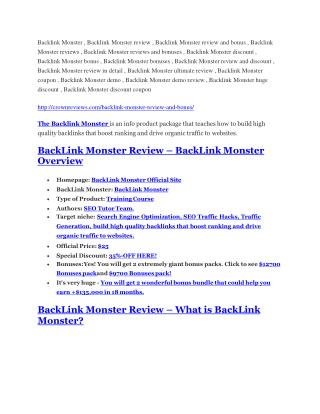 Backlink Monster review - A top notch weapon