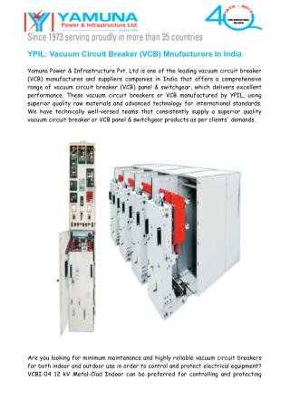 Vacuum Circuit Breaker (VCB) Manufacturers India
